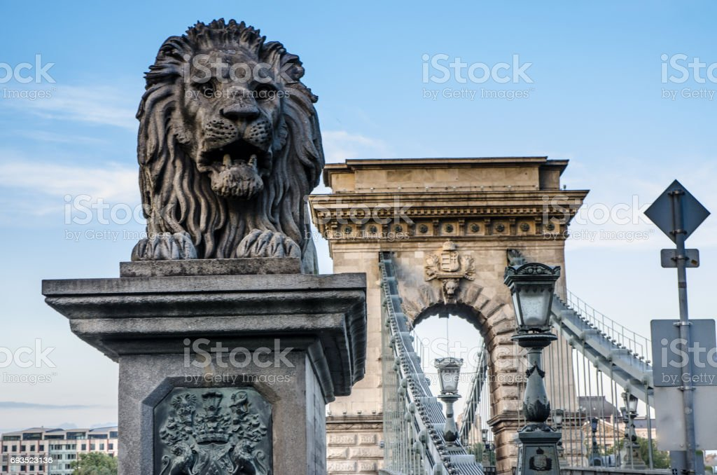 Close up on Lion's statue of Chain Bridge Budapest stock photo