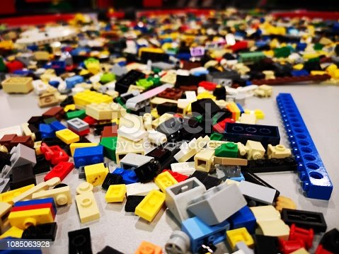 A colorful selection of toy bricks waiting for somebody to put them together