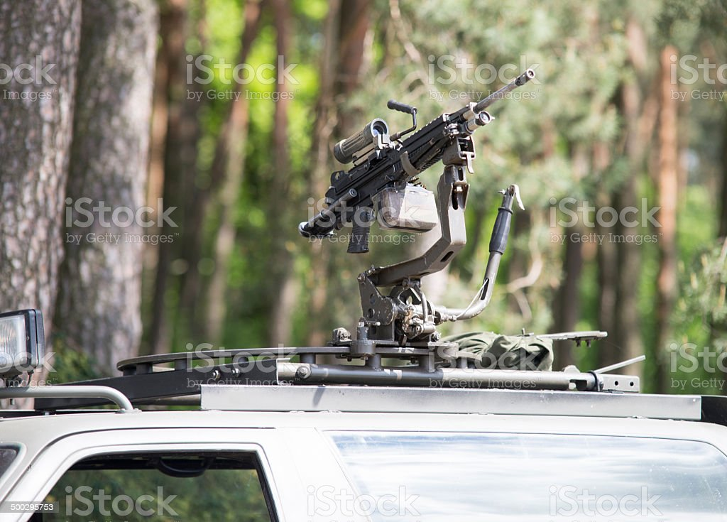 close up on machine gun in the roof of car royalty-free stock photo