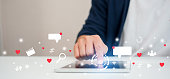 istock close up on man hand pressing on tablet to working about futuristic of social media marketing icon for internet network technology and business concept 1198624980