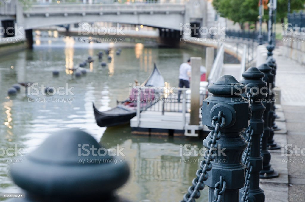 Close up on metal pole with gondola in background stock photo