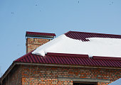 Close up on metal roofing with roof protection from snow board, snow guard on house construction