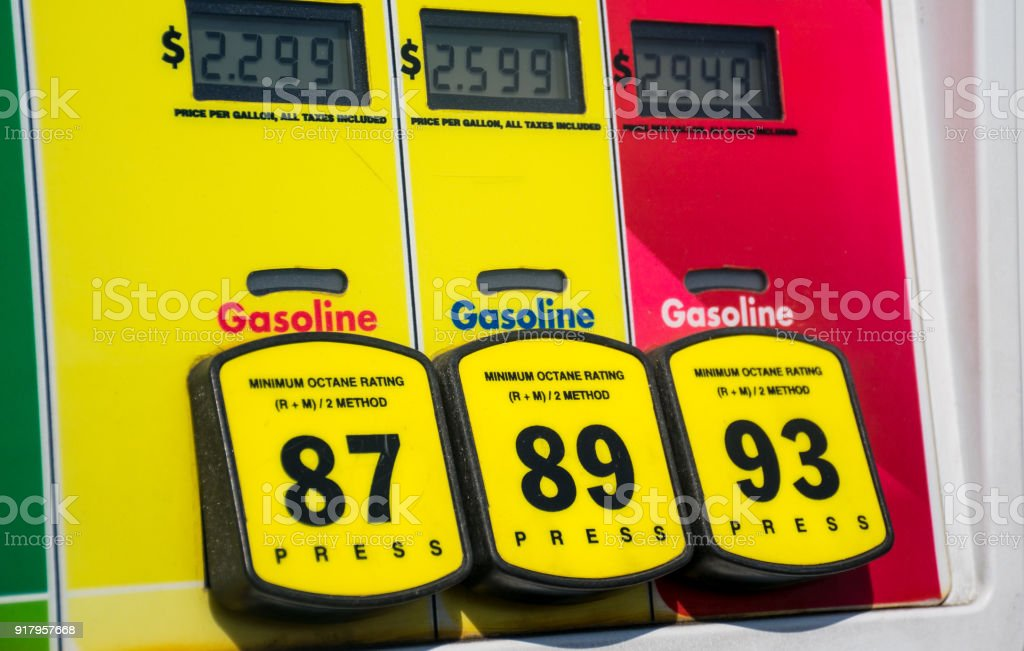 Close up on octane selection at the gas pump stock photo