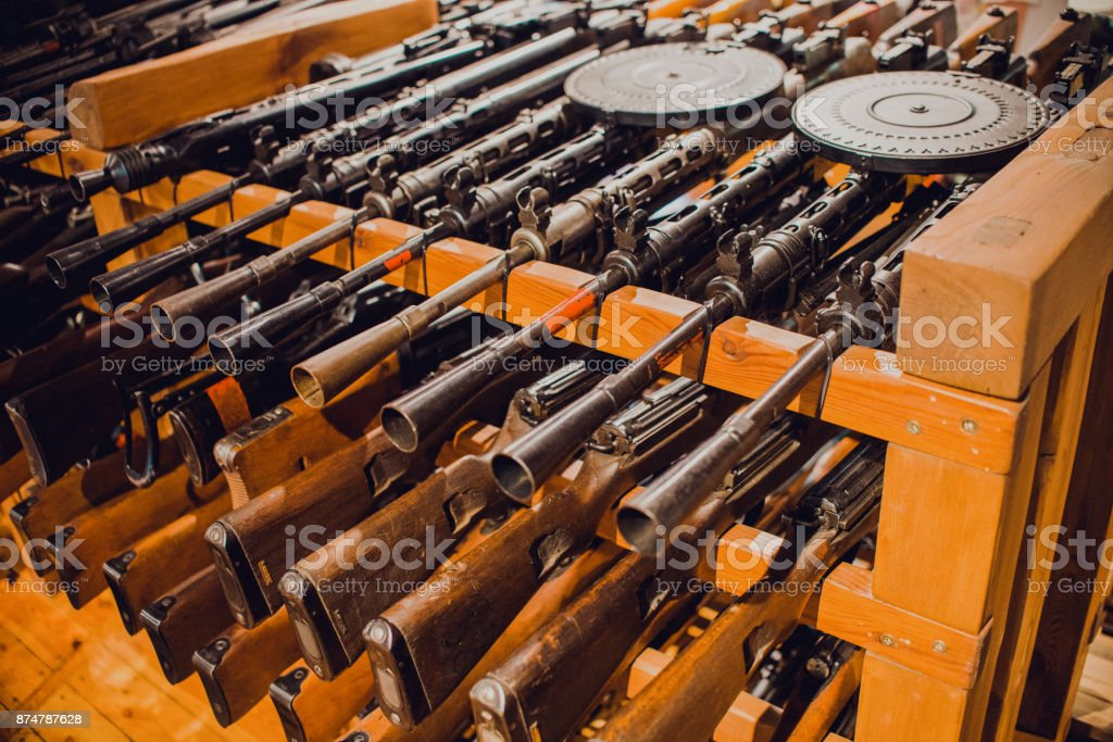 close up on old vintage  assault rifles stock photo