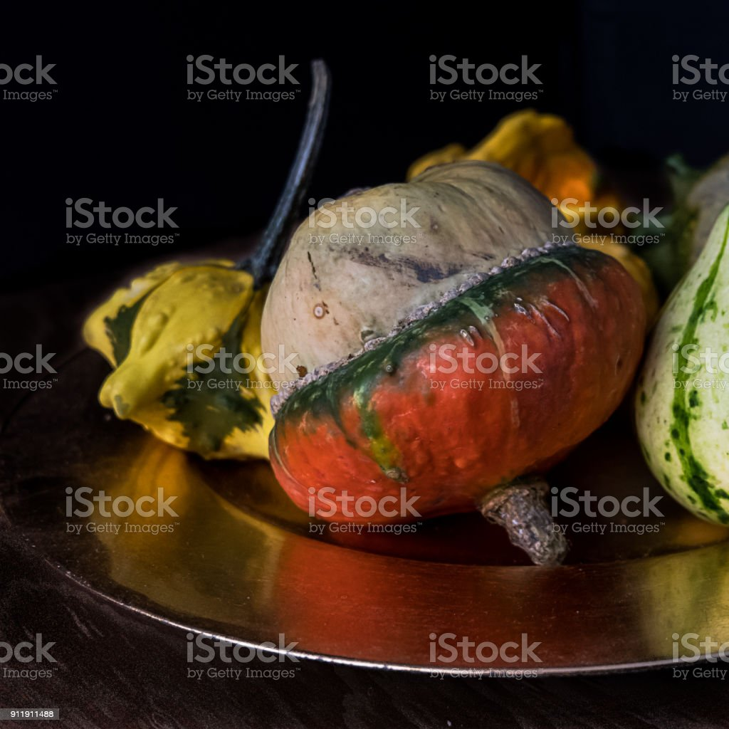 Close up on one gourd, with reflection. stock photo
