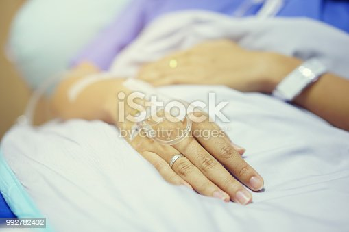 1197953545istockphoto close up on patient woman hand sleeping on bed after surgery operation and wait doctor,nurse to diagnosis syndrome later , healthy living concept 992782402