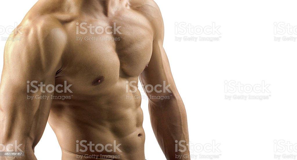 Primer plano perfecta abs. sólida con seis de bodybuilder - Foto de stock de Abdomen libre de derechos