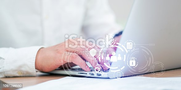 close up on programmer man hand typing for access on privacy data with virtual interface icon of GDPR (General Data Protection Regulation ) , personal data concept