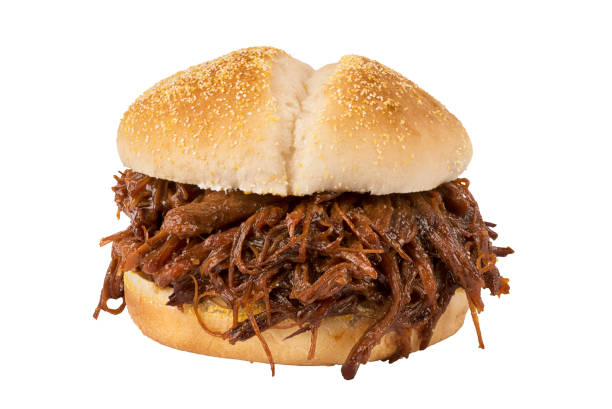 Close up on pulled pork sandwich stock photo