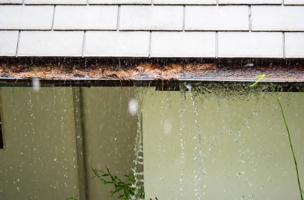 Close up on section of rain gutter clogged with leaves, debris on residential home during the rain stock photo
