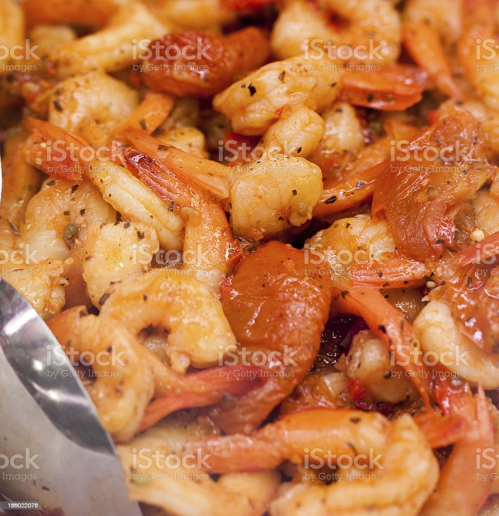 close up on spicy shrimps at the caterer royalty-free stock photo