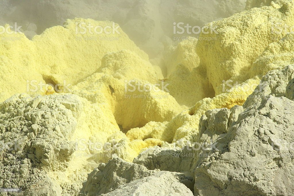 close up on sulphur eruption stock photo