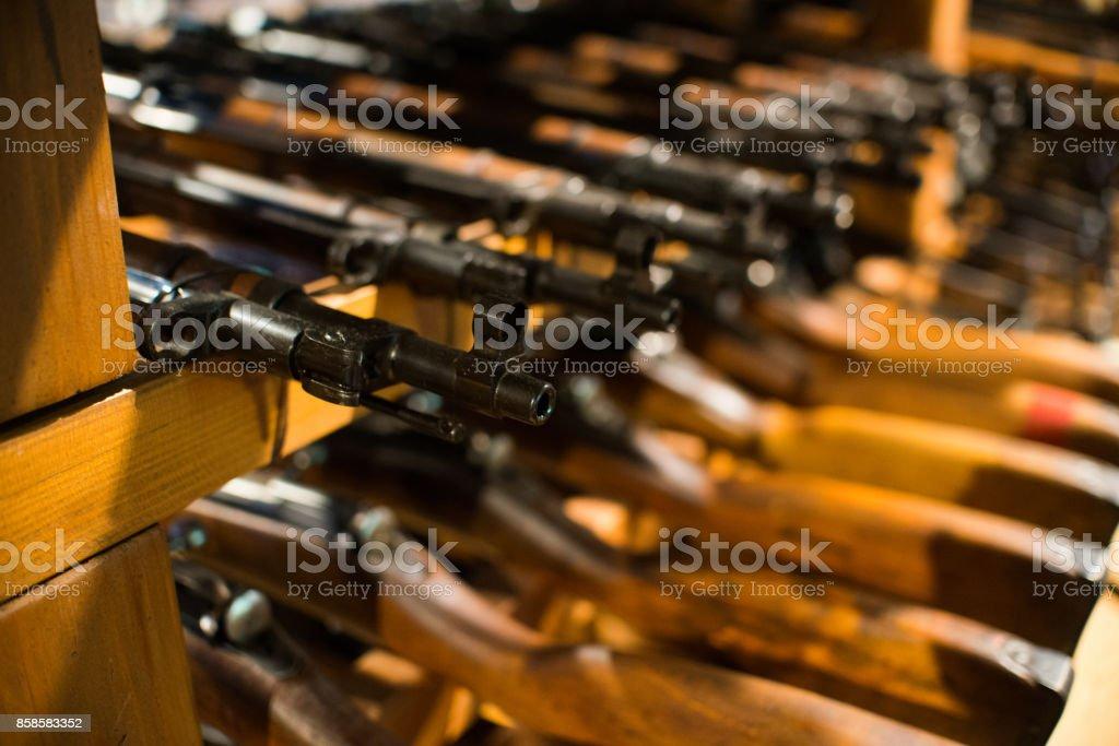 close up on vintage assault rifle stock photo