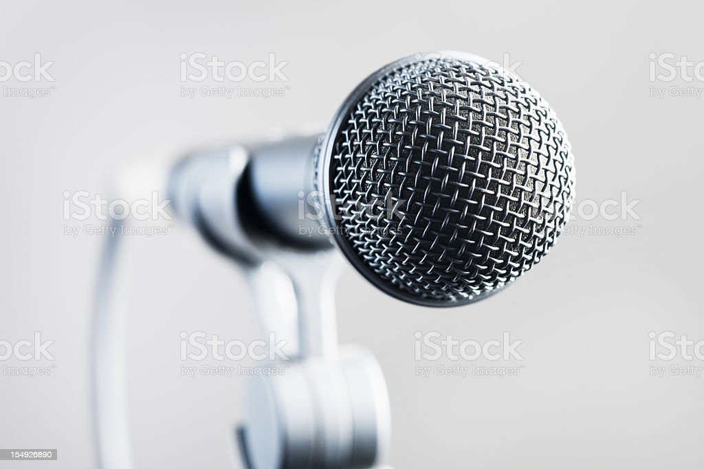 Close up on vocal microphone stock photo