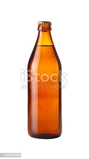 Close up one full brown glass bottle of lager beer without label isolated on white background, low angle side view