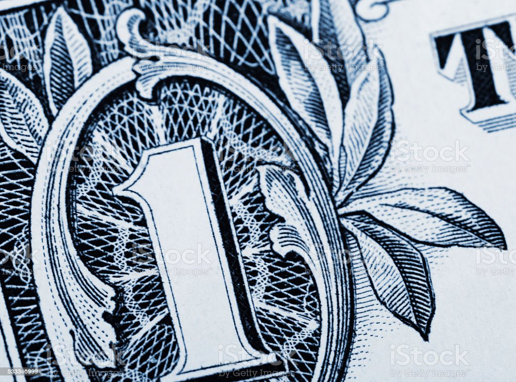 Close up one dollar bill stock photo