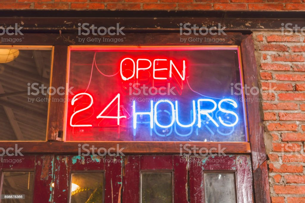 Close Up Open 24 Hours Sign On The Old Crimson Door stock photo | iStock & Close Up Open 24 Hours Sign On The Old Crimson Door stock photo ... pezcame.com