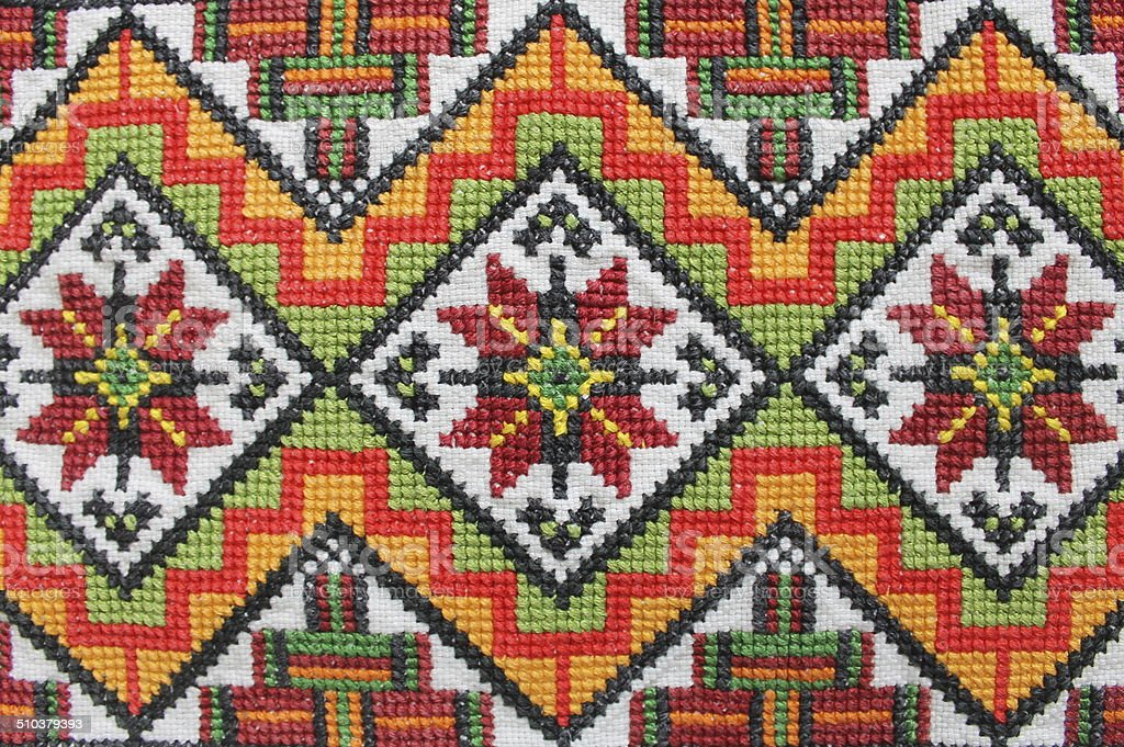 Close up or multicoloured Traditional Ukrainian Embroidery Pattern stock photo