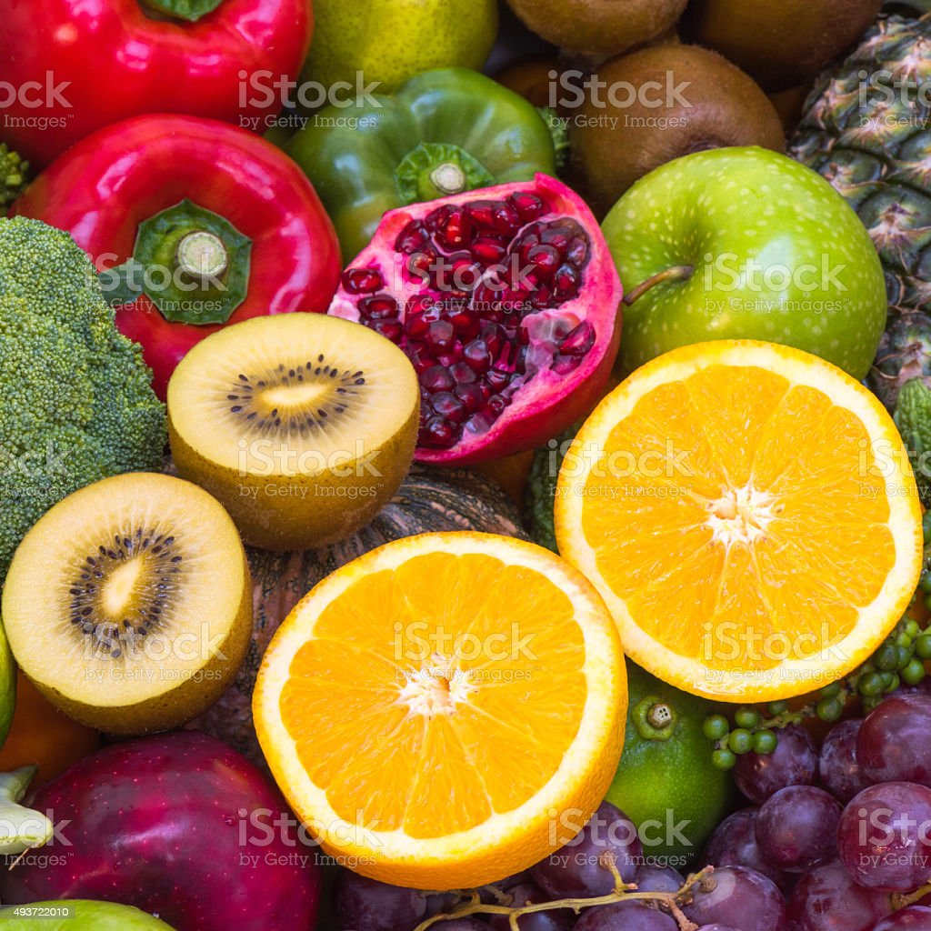 Close up orange slice with Group Fruits and vegetables for healthy
