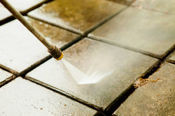 close up outdoor floor cleaning with high pressure water jet - high pressure cleaning stock photos and pictures