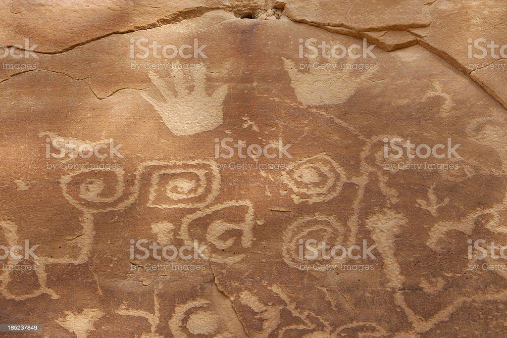 Close up panel of Mesa Verde NP petroglyphs Colorado stock photo