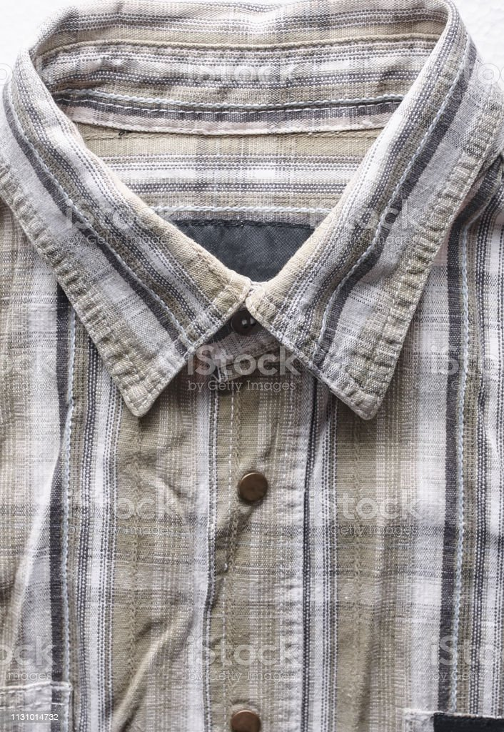 Close Up Part Of A Shirt From Hemp Fabric Casual Mans Shirt With Pattern Wrinkled Texture From Hemp And Cotton Background Stock Photo Download Image Now Istock