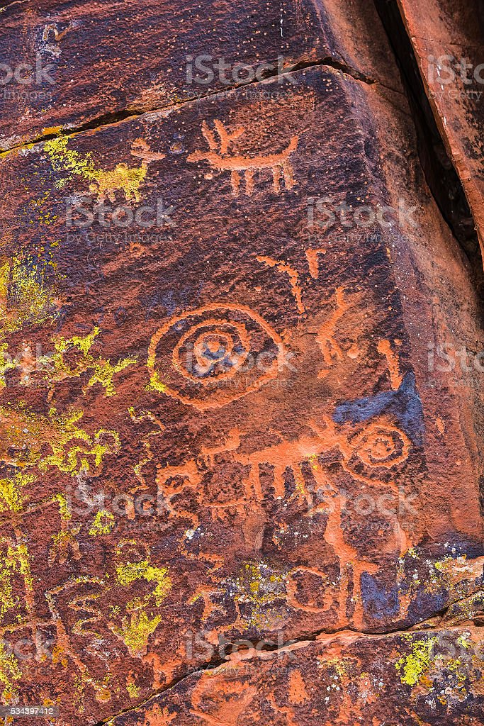 Close Up Petroglyph Panel stock photo
