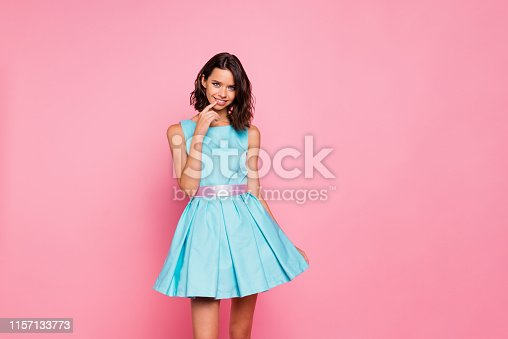 Close up photo amazing beautiful she her lady graduation college university, school ready chill attractive pretty appearance wear cute shiny colorful blue dress isolated pink bright vivid background