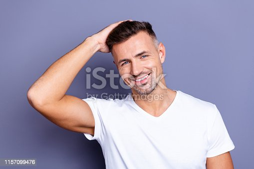 Close up photo amazing he him his middle age macho perfect appearance look bath mirror shower neat stubble ideal hairdress styling stylist, salon wear casual white t-shirt isolated grey background