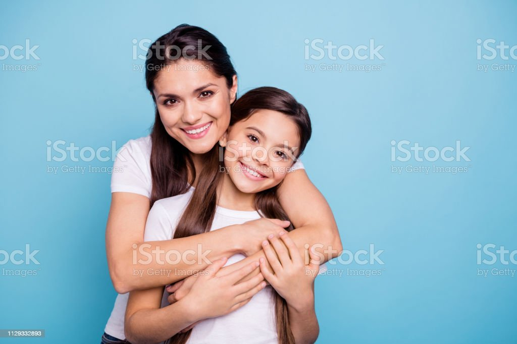 Close up photo amazing pretty two people brown haired mum mom small...
