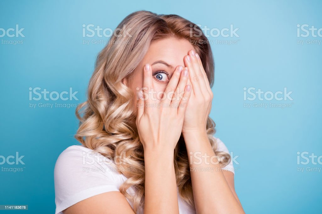 Close up photo beautiful amazed her she lady hands arms hold hide...