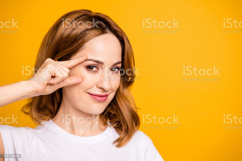 Close up photo beautiful amazing she her foxy lady hold arm hand face...