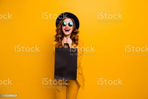 Close Up Photo Beautiful She Her Lady Very Glad Black Friday Laughter Carry Packs Perfect Look Buy Buyer Birthday Sale Discount Wear Specs Formalwear Costume Suit Isolated Yellow Bright Background Stock Photo - Download Image Now