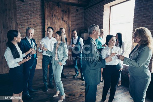 Close up photo business people different age race free leisure excited team building members gathering she her he him his golden beverage toasting best brigade friendship formal wear jackets shirts.