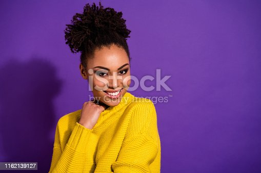 Close up photo of attractive, lady looking touch colorful jumper isolated purple violet background