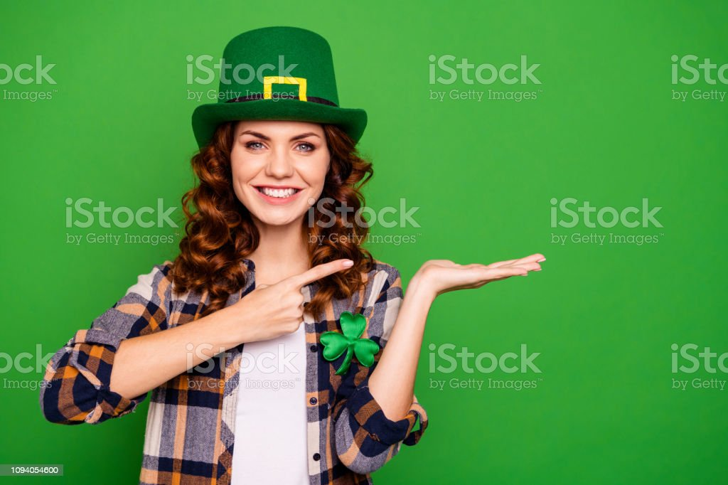 1735a38d27 Close Up Photo Of Attractive She Her Brunette Arm Hand Finger Point To Open  Palm Promotional Wearing Casual Checkered Plaid Shirt Leprechaun Headwear  ...