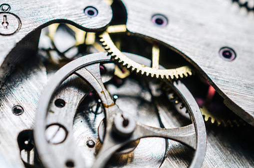 Close up photo of the mechanism in the watchClose up photo of the mechanism in the watch