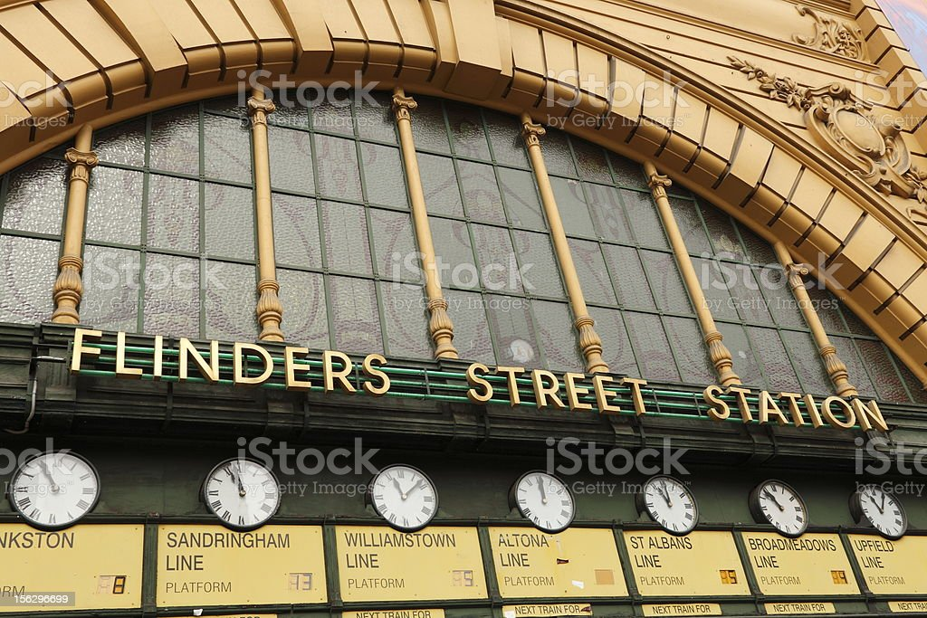 Close up photo of Flinders Street Railway Station sign  stock photo