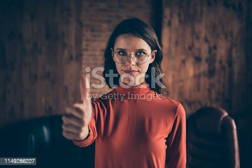 Close up photo of intelligent clever serious millennial entrepreneur advertise decide choose advise suggest good excellent wear style stylish trendy red sweater brunette interior.