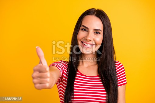 933380808 istock photo Close up photo of lovely attractive student have ads advise promotion select suggest dressed youth modern clothing isolated yellow colorful background feel positive she her 1158225413
