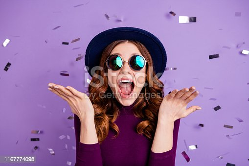 Close up photo of lovely, vintage student shouting isolated over purple background