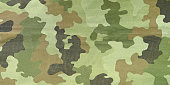 Close up photo of multicam camouflage uniform