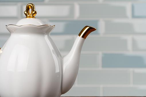 Close up photo of porcelain dishware for tea