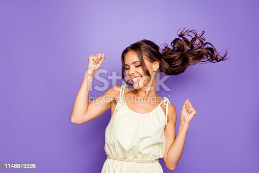 Close up photo of pretty attractive optimistic lovely she her lady raising fists hands up having free freedom inspiration isolated violet background.