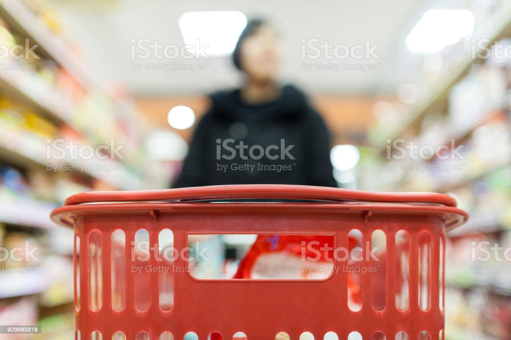 Close up photo of shopping basket stock photo