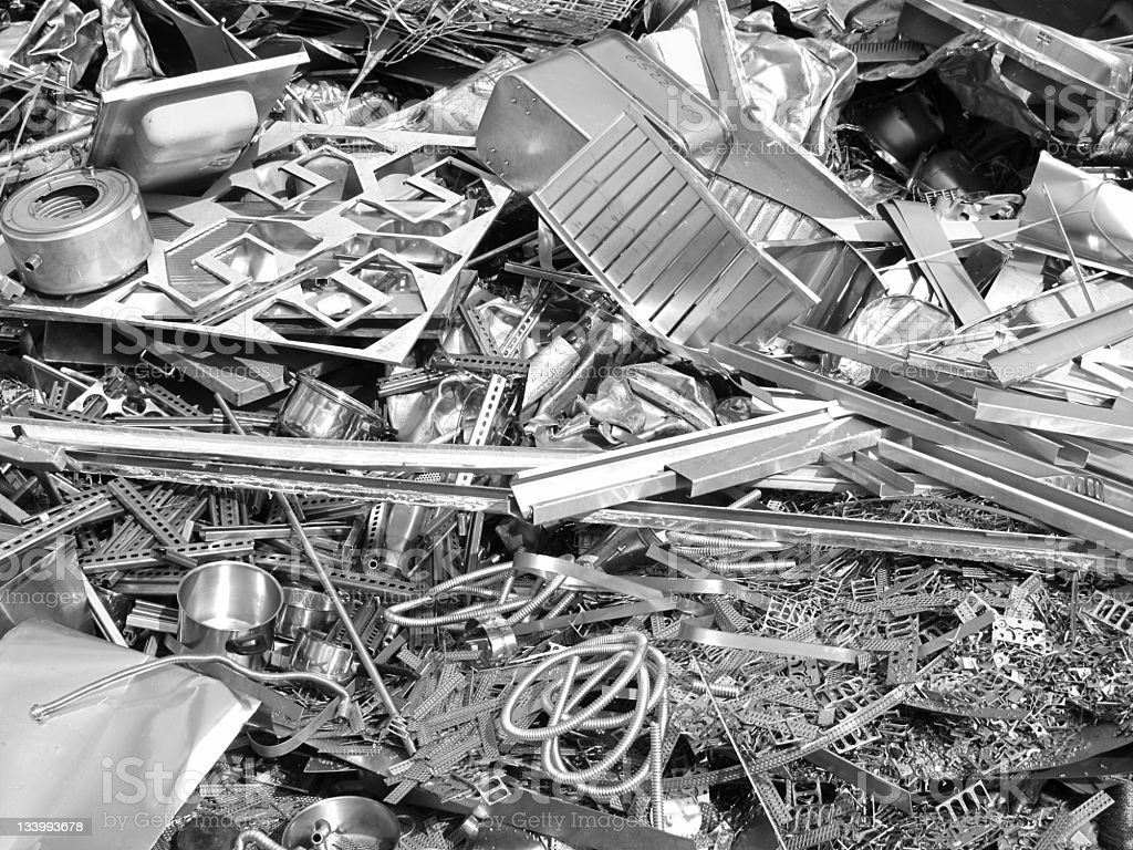 Close up photo of silver color scrap metal and metal trash stock photo