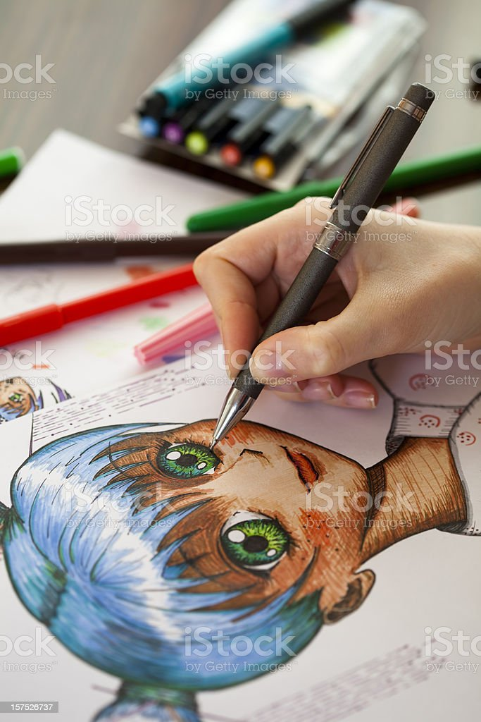 Close up photo of the work of a manga painter stock photo