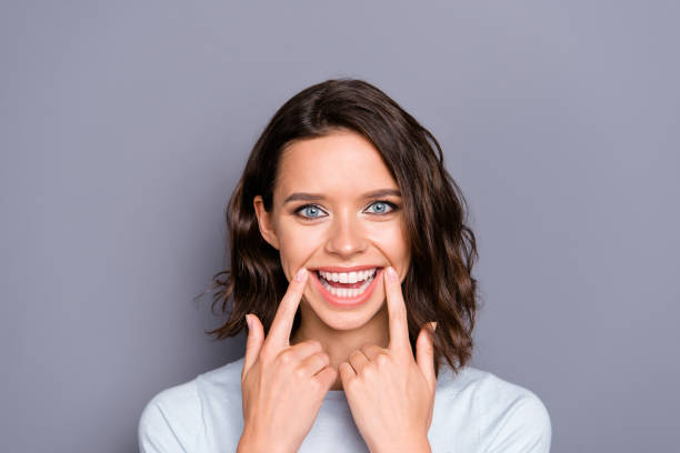 Close up photo portrait of cheerful glad positive lady with her stock photo