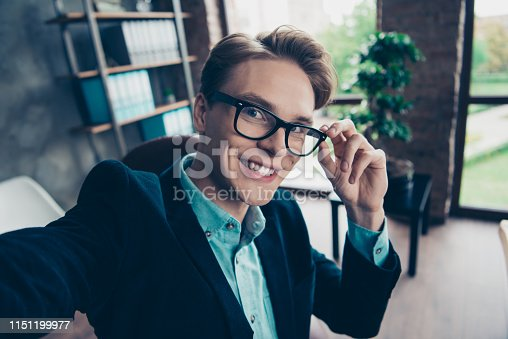 Close up photo positive cheerful excited people smm online meeting break pause fun touch eyewear eyeglasses free time cute funky enjoy content make photo trendy stylish jacket interior industrial.