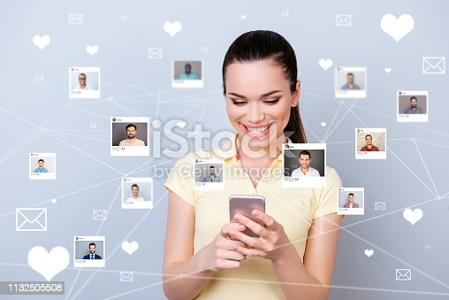 1125634019 istock photo Close up photo website got news she her lady telephone share repost like heart letters pick choose choice illustration photos guys dating site futuristic creative design isolated grey background 1132505508
